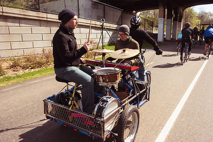 The Decayed Realms performing on Karl Stoerzinger's Cargotrike for 30 Days of Biking